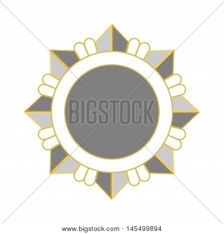 Medal award icon. Silver star order isolated on white background. Medallion design element. Metallic emblem. Blank for certificate winner decoration. Symbol first success win Vector illustration