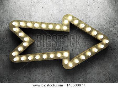 Retro arrow with neon lights. 3D illustration