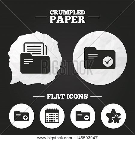 Crumpled paper speech bubble. Accounting binders icons. Add or remove document folder symbol. Bookkeeping management with checkbox. Paper button. Vector