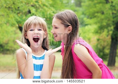 The Girl telling a secret her friend