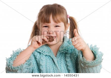 The Little Girl Eats Chocolate Isolated On White Background