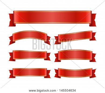 Red ribbons set. Satin blank banners collection. Design label scroll blanks element isolated on white background. Empty template for greeting or advertising. Symbols decoration. Vector illustration.
