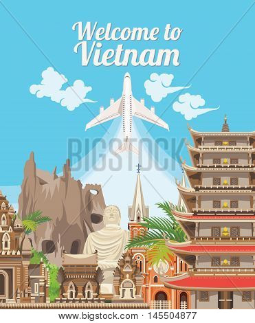 Vietnam detailed Vector illustration with airplane. Welcome to Vietnam