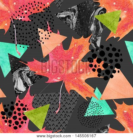 Abstract autumn geometric seamless pattern. Glittering maple leaf triangles with marble grunge textures. Abstract geometric background in retro vintage 80s 90s pop art. Hand drawn fall illustration