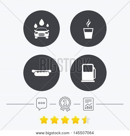 Petrol or Gas station services icons. Automated car wash signs. Hotdog sandwich and hot coffee cup symbols. Chat, award medal and report linear icons. Star vote ranking. Vector