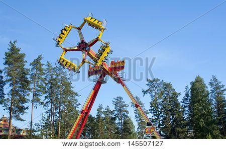 Kouvola, Finland 1 July 2015 - Ride Loop Fighter In Motion In Amusement Park Tykkimaki