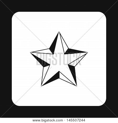 Five pointed convex star icon in simple style isolated on white background. Figure symbol