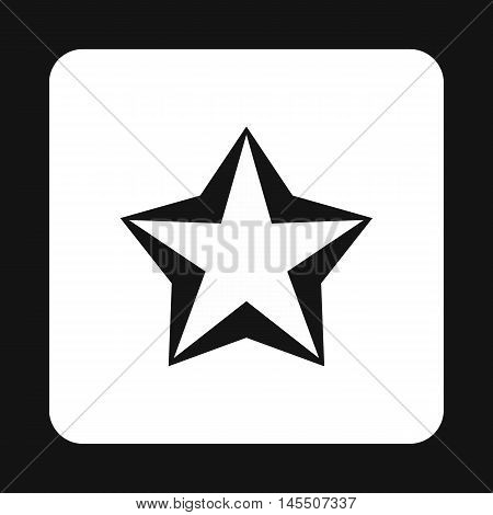 Convex five pointed celestial star icon in simple style isolated on white background. Figure symbol