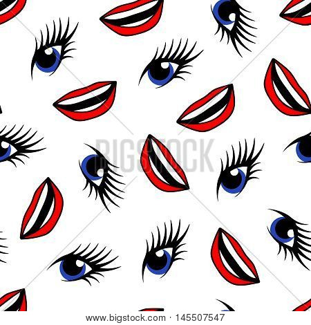 Blue eyes and red lips seamless pattern. Good for textile and paper print, card, poster, another design. Unusual abstract vector illustration.