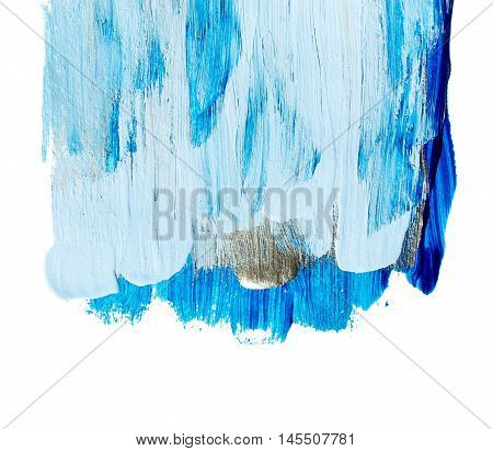 Blue and silver blue acrylic background. Acrylic background of blue and silver drips