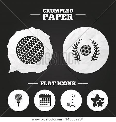 Crumpled paper speech bubble. Golf ball icons. Laurel wreath winner award sign. Luxury sport symbol. Paper button. Vector