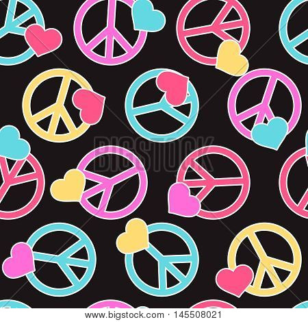 Seamless pattern with peace signs, hearts. Background for kid and adult textile, pajama, paper print, card and other design. Hippie symbol multicolor vector illustration. Sixties.