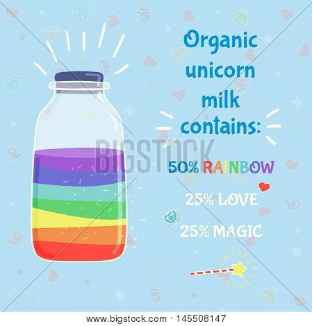 Unicorn milk in bottle cartoon illustration, with heart, star. Hand drawn vector picture for kid textile, card, pin, t-shirt print design. Fashion trend. Fairy tale, magic wand, funny and fantasy idea