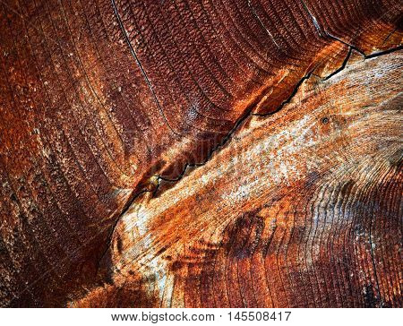 abstract background or texture zigzag fissure on varnished wood