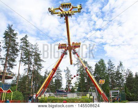 Kouvola, Finland 7 June 2016 - Ride Loop Fighter In Motion In Amusement Park Tykkimaki