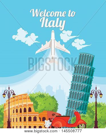 Welcome to Italy. Vintage style. Travel Concept