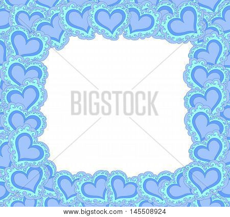 Vector decorative frame with blue ornamental figured hearts
