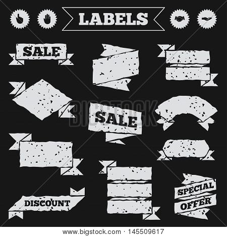 Stickers, tags and banners with grunge. Hand icons. Handshake successful business symbol. Click here press sign. Human helping donation hand. Sale or discount labels. Vector