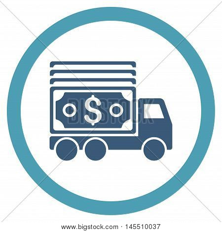 Cash Lorry vector bicolor rounded icon. Image style is a flat icon symbol inside a circle, cyan and blue colors, white background.