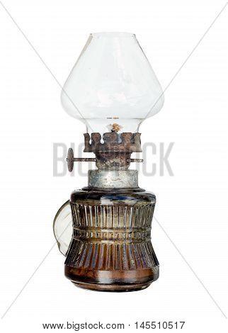 Old and used kerosene lamp on white background