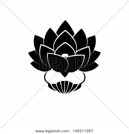 Black stylized image of a lotus flower on a white background. The symbol of commitment to the Buddha in Japan. Vector illustration.