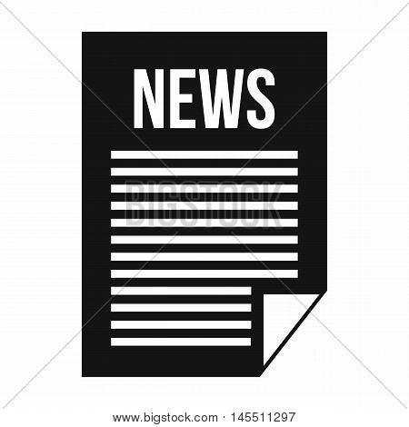 News newspaper icon in simple style isolated on white background. Tidings symbol
