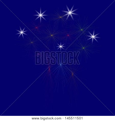 Large Fireworks Display on a blue background - vector illustration. Isolated