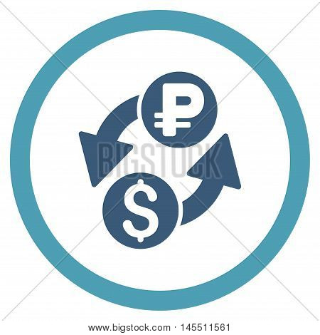 Dollar Rouble Exchange vector bicolor rounded icon. Image style is a flat icon symbol inside a circle, cyan and blue colors, white background.