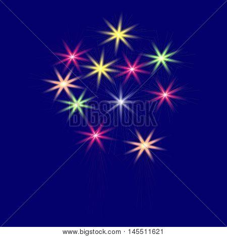 Festive, multi-colored fireworks on a blue background vector illustration.
