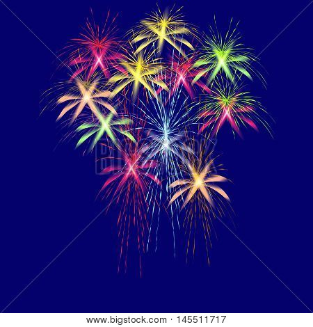 Colorful fireworks in honor of Victory Day on a blue background vector illustration.
