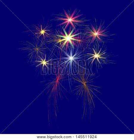 Festive, large, multi-colored fireworks on a blue background vector illustration.