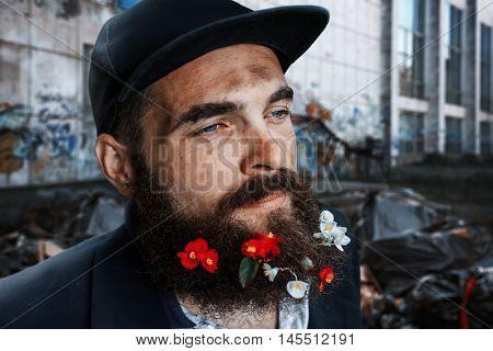 Vagrant in flowerbed