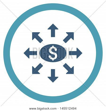 Mass Cashout vector bicolor rounded icon. Image style is a flat icon symbol inside a circle, cyan and blue colors, white background.