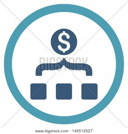 Money Aggregator vector bicolor rounded icon. Image style is a flat icon symbol inside a circle, cyan and blue colors, white background.