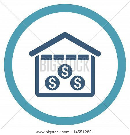 Money Depository vector bicolor rounded icon. Image style is a flat icon symbol inside a circle, cyan and blue colors, white background.