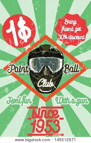 Color vintage paintball poster. Play paintball. Vector vintage illustration.