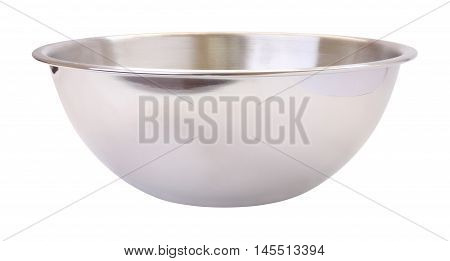 Side stainless steel mixing bowl on white background.