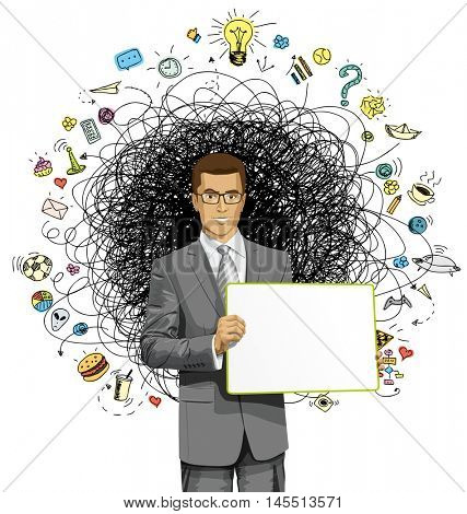 Idea concept. Vector Business man holding empty write board in his hands