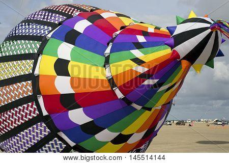 LAKOLK DENMARK - SEPTEMBER 3 2016: Colorful big kite on the big beach on Lakolk Romo. International Kite Festival for the 27th time. September 3 2016.