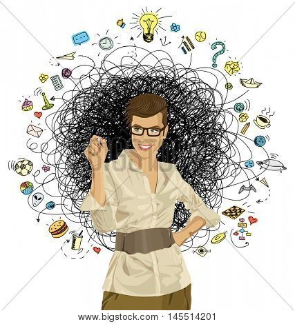 Idea concept. Vector Business woman writing something