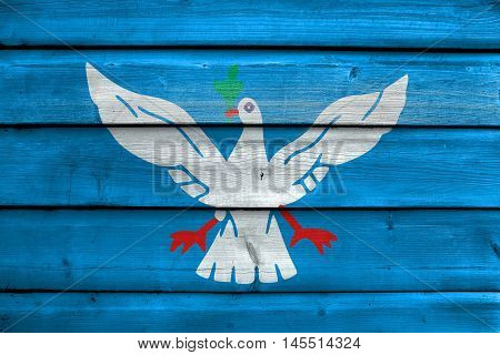 Flag Of Salvador, Bahia, Brazil, Painted On Old Wood Plank Background