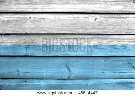 Flag Of Santa Marta, Colombia, Painted On Old Wood Plank Background