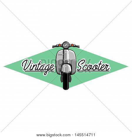 Color vintage scooter emblem. Scooter travel concept.