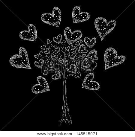 Vector tree of love with hearts, Valentine's background