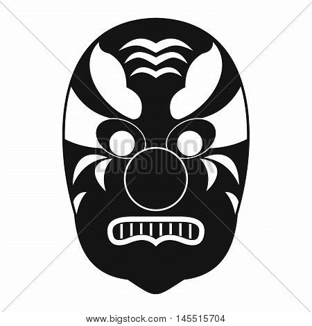 Tribal mask icon in simple style isolated on white background. Accessory symbol