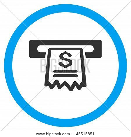 Cashier Receipt vector bicolor rounded icon. Image style is a flat icon symbol inside a circle, blue and gray colors, white background.