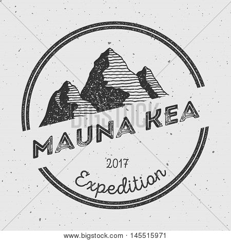 Mauna Kea In Hawaii, Usa Outdoor Adventure Logo. Round Expedition Vector Insignia. Climbing, Trekkin