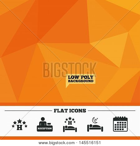 Triangular low poly orange background. Five stars hotel icons. Travel rest place symbols. Human sleep in bed sign. Hotel check-in registration or reception. Calendar flat icon. Vector