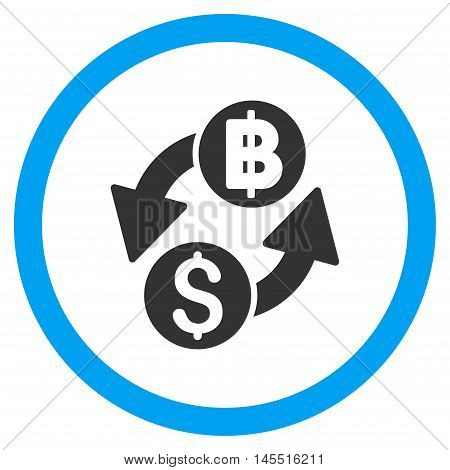 Dollar Baht Exchange vector bicolor rounded icon. Image style is a flat icon symbol inside a circle, blue and gray colors, white background.