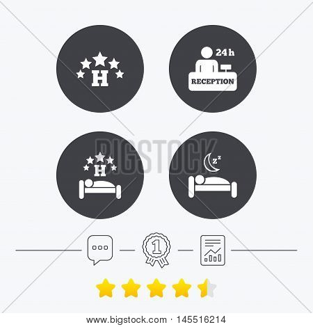 Five stars hotel icons. Travel rest place symbols. Human sleep in bed sign. Hotel 24 hours registration or reception. Chat, award medal and report linear icons. Star vote ranking. Vector